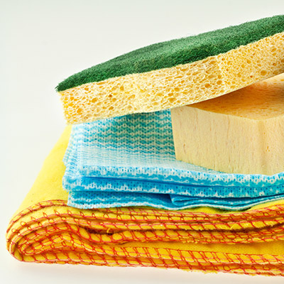 sponges and rags
